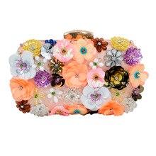 Newest Luxury Lady Diamond Flower Evening Bag Wristlets Wedding Party Bridal Clutch Purse Chain Shoulder Bag