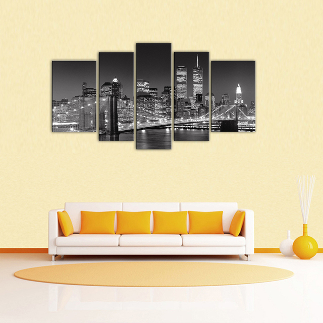 5 Panels Landscape Paintings Wall Art Black and White New York City ...