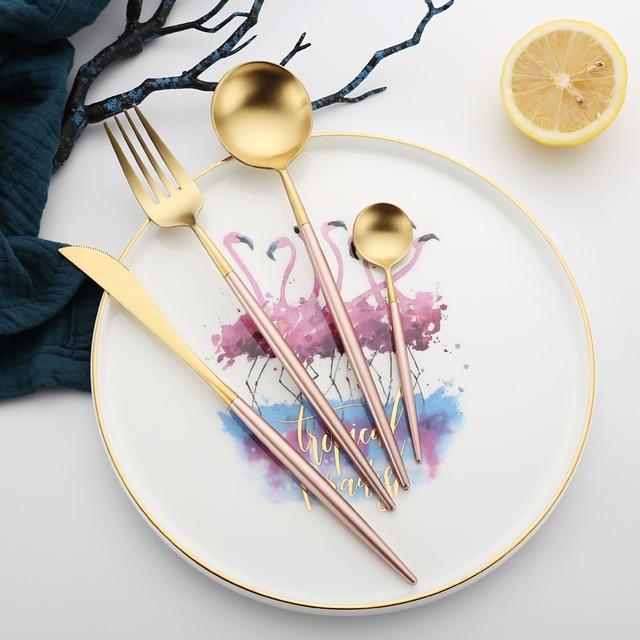 Vintage Western Luxury Pink Dinnerware 4pcs Knife Fork Tablespoon Teaspoon Food Dining Tableware Hot Selling Korean & Vintage Western Luxury Pink Dinnerware 4pcs Knife Fork Tablespoon ...