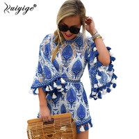 Ruiyige 2017 Sexy Jumpsuit Ladies Backless Sleeveless Playsuits Womens Summer Style Loose Blue Print Tassel Women
