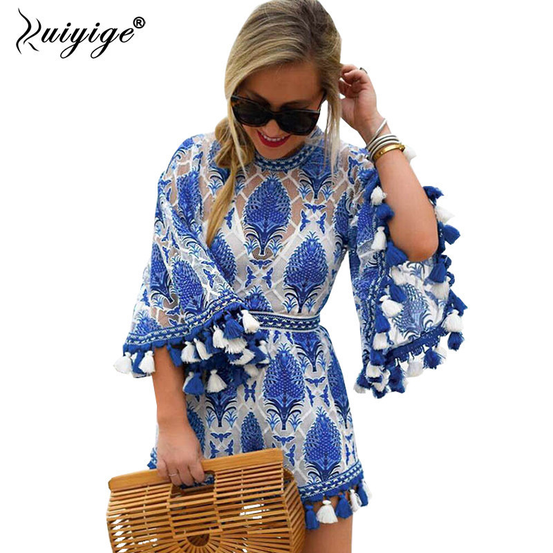 Ruiyige Summer 2018 Women Boho Jumpsuit Playsuits Embroidery Crochet Lace Tassel Beach Overalls Causal Hollow Out Tunic Romper