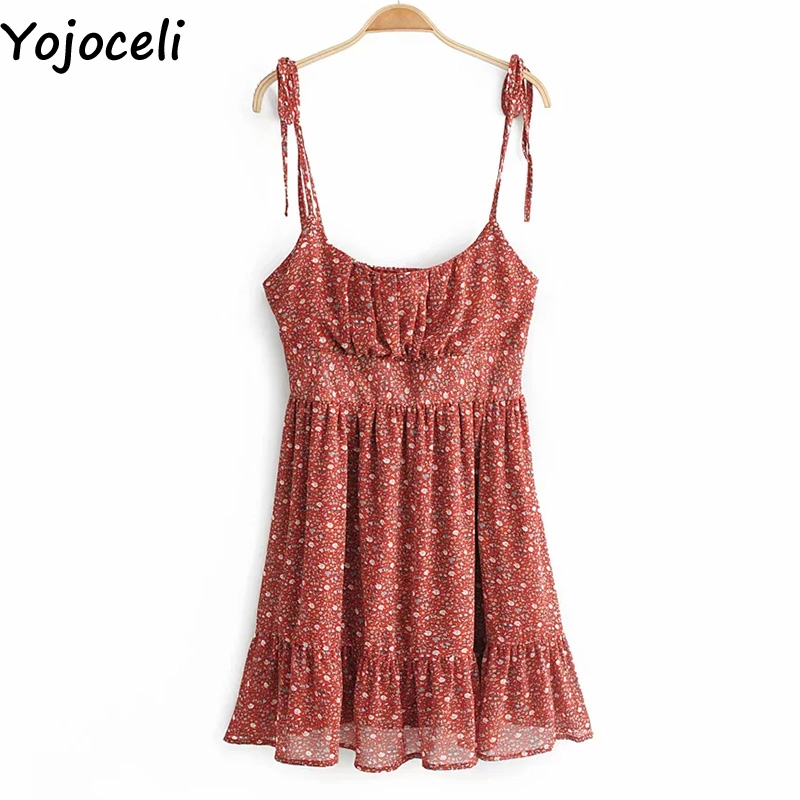 Cuerly Sexy print short ruffle dress women Summer elegant party mini dress female Casual daily strap sundress vestidos L5 in Dresses from Women 39 s Clothing