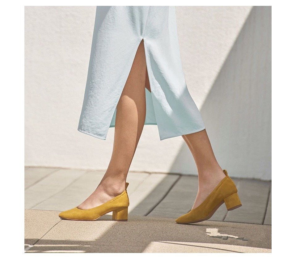 Shoes Women Genuine Leather Fashion Office and Career Rounded Toe 2-inch Block Heel Fashion Office Lady Pumps Size 34-41, K-307 26