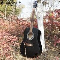 41 Inch Acoustic Folk Guitar Rosewood Black Matte Full Size Semi closed Knob 6 String Folk Gitar Beginner Kids Unisex Guitarra