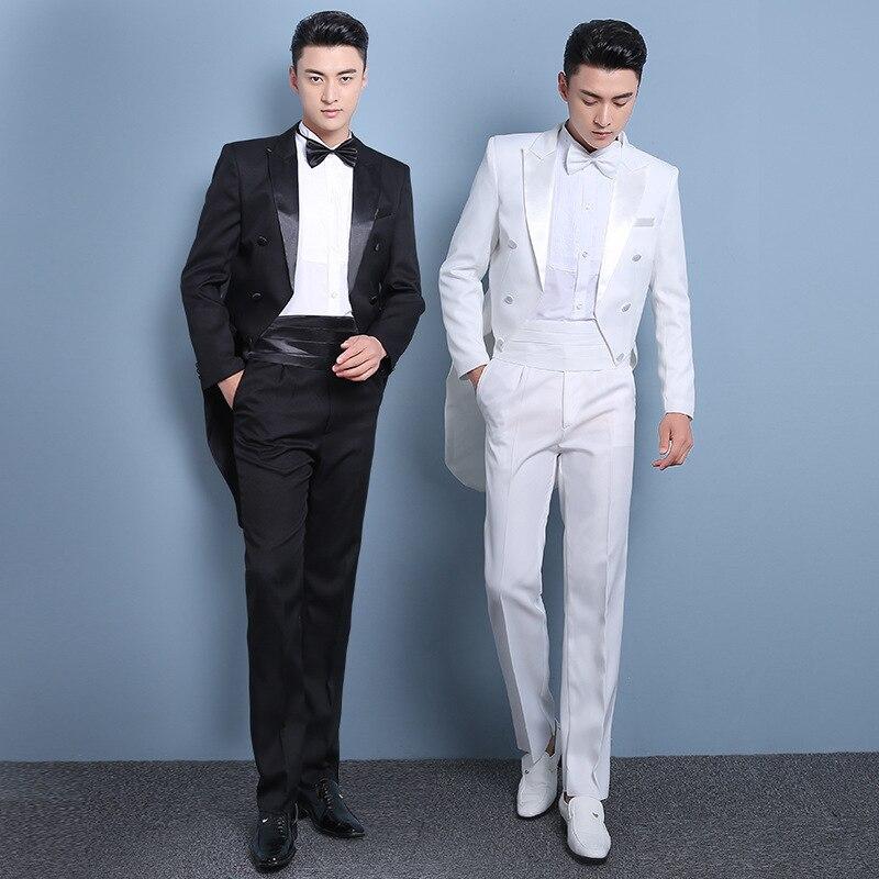 PYJTRL nouvelle grande taille S-4XL hommes classique noir blanc brillant revers queue manteau smoking mariage marié scène chanteur quatre pièces costume - 4
