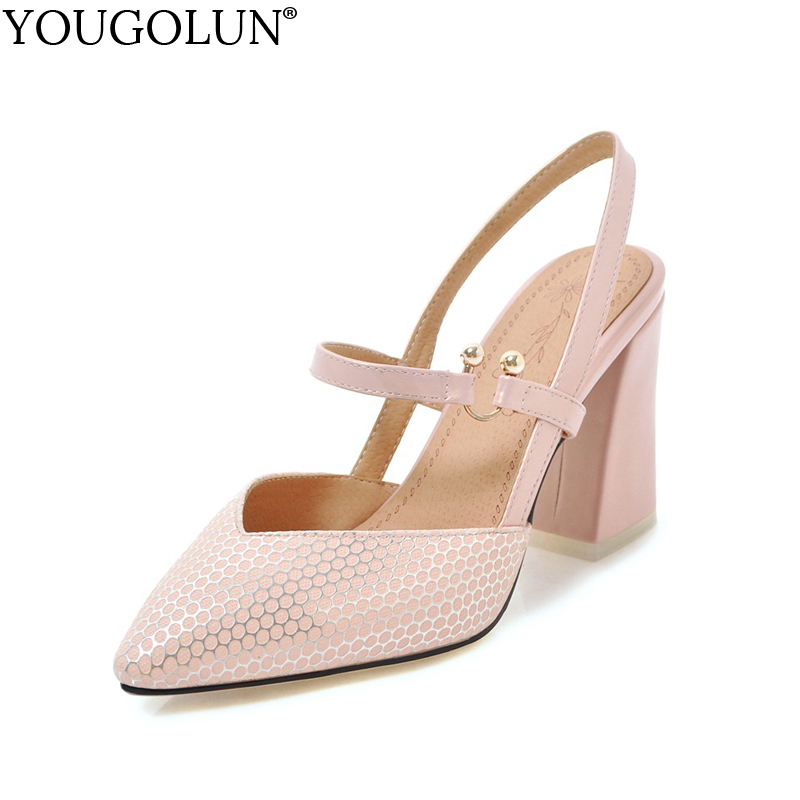 YOUGOLUN Women Ankle Strap Sandals Summer Sexy Lady High Thick Heels Woman Black Pink White Beige Closed toe Party Shoes #A-118 new summer elegant sandal fashion platform women sandals thick high heels ankle strap pink white black women shoes size 33 43