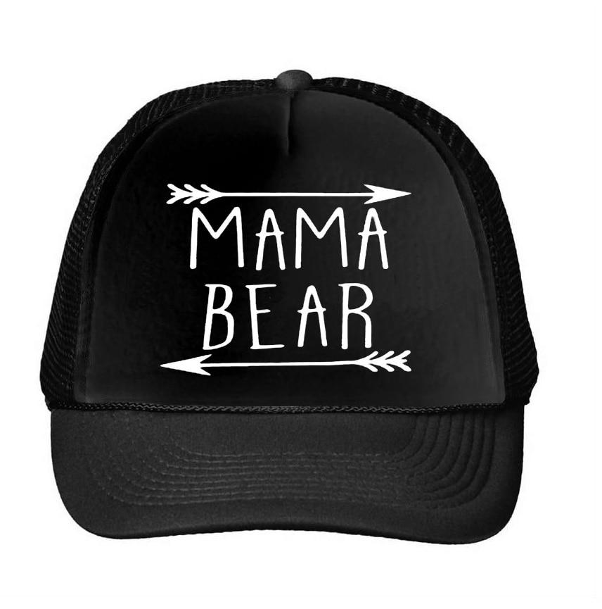 MAMA bear arrow Letters Print Baseball Cap Trucker Hat For Women Men Unisex Mesh Adjustable Size Drop Ship M-159 2017 new pizza embroidery baseball cap trucker hat for women men unisex adjustable size dad cap hats