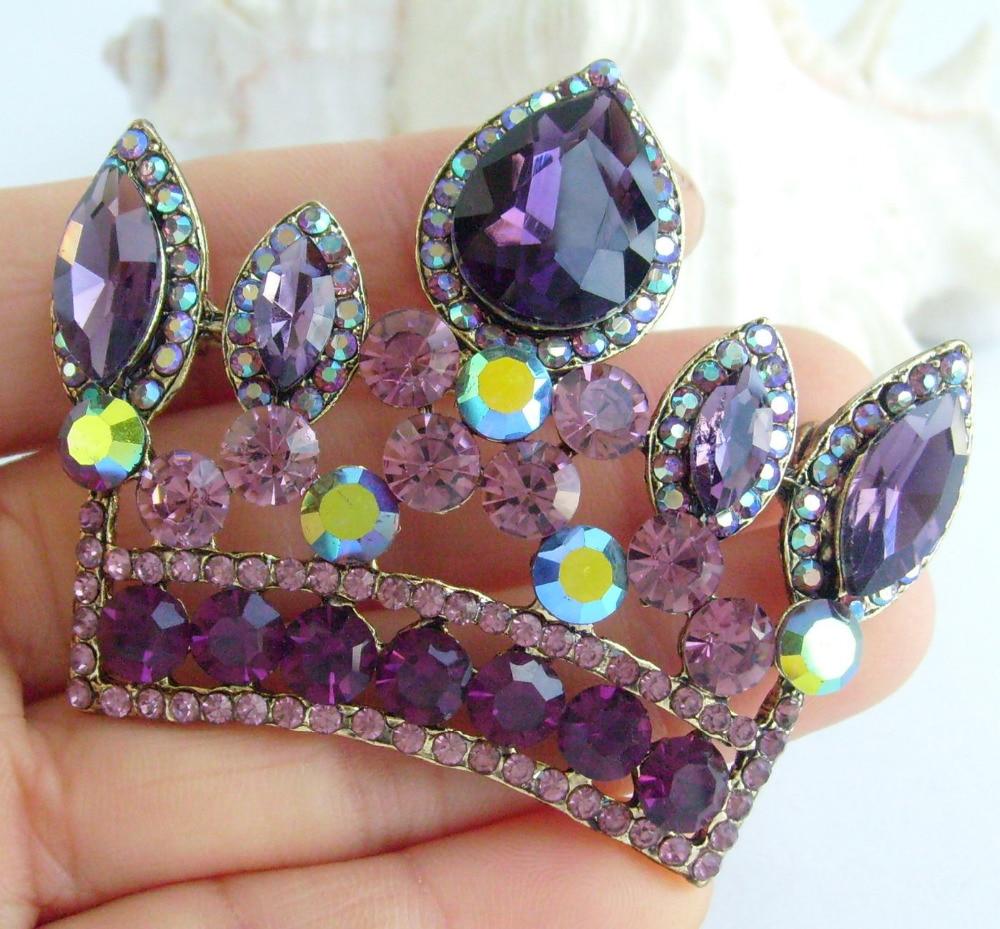 Великолепная брошь «Корона» контактный фиолетовые горный хрусталь подвеска EE05050C1