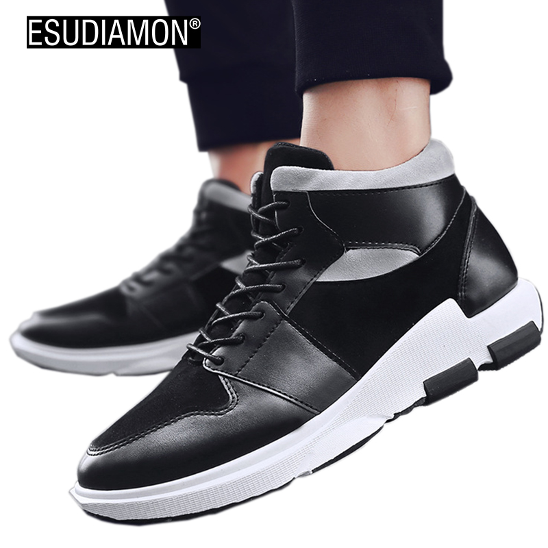 ESUDIAMON Spring Autumn Men Leathe Shoes 2017 Fashion High top Men's Casual Shoes Breathable PU Man Lace up Brand Shoes Black new 2016 medium b m massage top fashion brand man footwear men s shoes for men daily casual spring man s free shipping