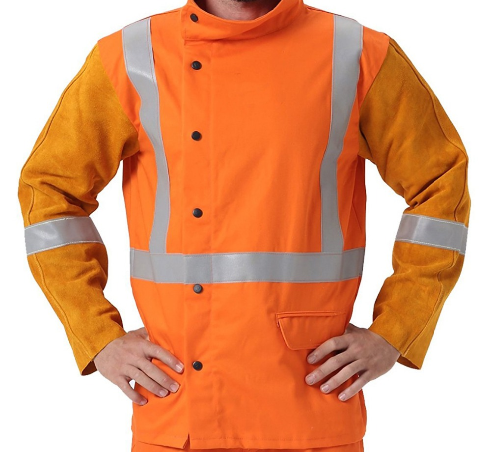 Leather Welder Aprons Reflective Tape FR Cotton Coverall Welding Clothing Flame Retardant Cotton Leather Welding Jackets flame retardant welder clothing fire retardant welding coverall fr cotton welding sleeves