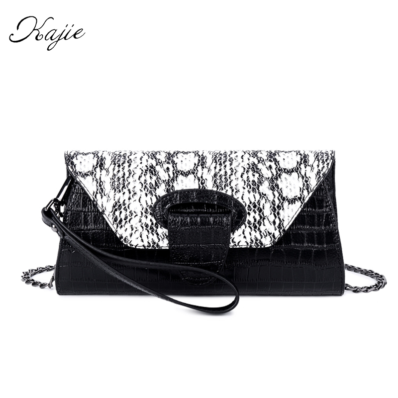 Kajie Elegant Crocodile Genuine Leather Clutches Woman Evening Bag Long Chain Shoulder Bag Handbag Clutch Lady Designer Wallet цена