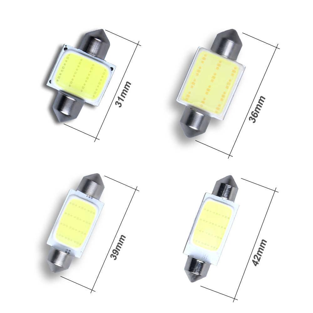 1PCS 31mm 36mm 39mm 41mm COB Festoon Car Bulb 12 Chips C5W 12V White Color LED Bulb Dome Light