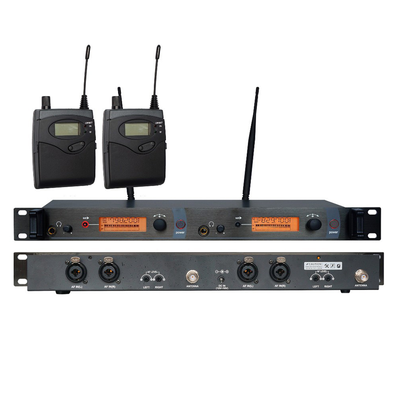 Double channel In Ear Monitor Wireless System, Twin transmitter Monitoring Professional for Stage Performance UK-2050 ukingmei uk 2050 wireless in ear monitor system sr 2050 iem personal in ear stage monitoring 2 transmitter 2 receivers