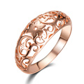 585 Rose Gold Plated Ring Vintage Flower Chinese Pattern Jewelry Bijoux Women Wedding Engagement Wide Ring Crown Jewel Bague kr1