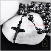 Hot Sale Fashion Jewelry 316L Stainless Steel Black Jesus Cross Pendant Rosary Beads Chain Men S