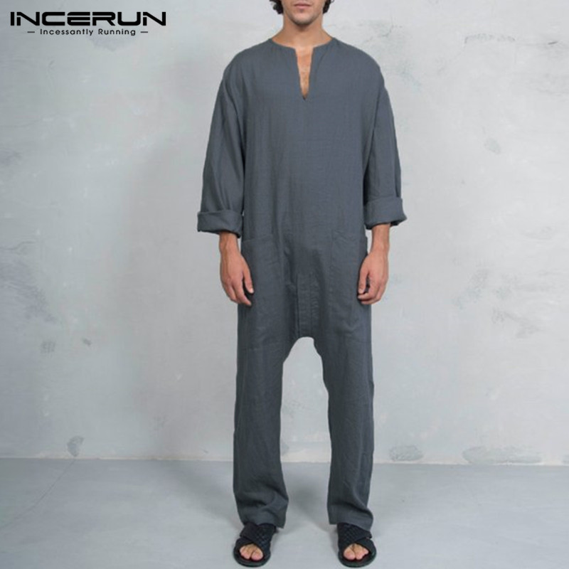 INCERUN New Men Jumpsuits Vintage Long Pants Pockets Cotton Loose Trousers Men Casual Muslim Islamic Clothes Kaftan Overalls 3XL