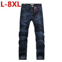 2017 plus size 8XL 7XL 6XL Jeans Male Casual Straight Denim Men's old processing Jeans Slim fold denim Brand Jeans Full Length