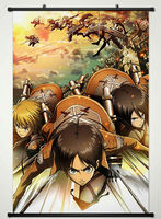 Wall Scroll Poster Fabric Printing For Anime Attack On Titan Eren Yaeger Armin Arlert