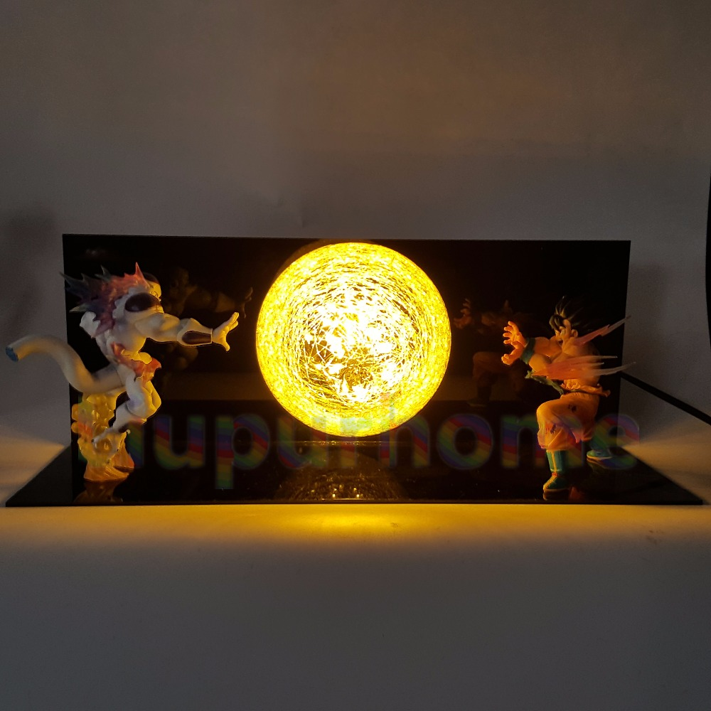 Dragon Ball Z Son Goku VS Freeza Led Night Lights Table Lamp Anime Dragon Ball Z DBZ Son Goku Led Lamp Christmas Decor anime dragon ball z golden shenron crystal ball led set dragon ball super son goku dbz led lamp night lights xmas gift