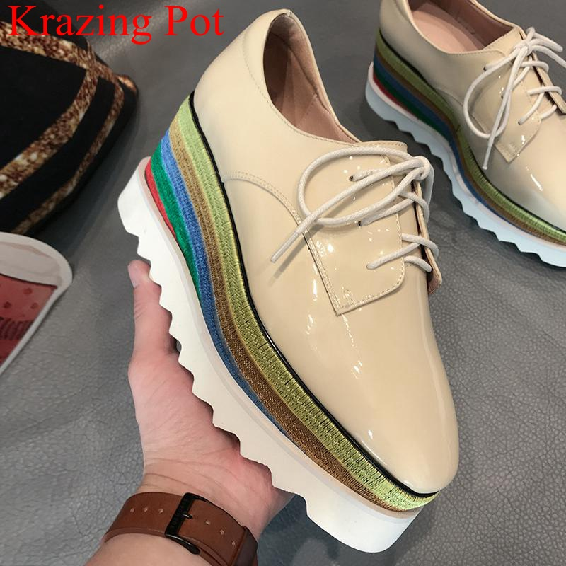 2019 New Arrival Brand Casual Shoes Wedges High Heels Women Pumps Platform Lace Up Big Size Party Increased Autumn Shoes L7f1