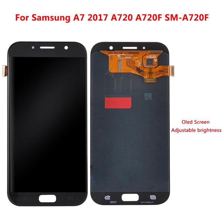 Pour Samsung Galaxy A7 2017 A720 A720F A720F/DS Affichage à L'écran Tactile Digitizer Assemblée AMOLED LCD Écran Tactile Avec outils