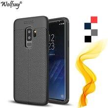 Wolfsay para capa samsung galaxy s9 plus caso luxo litchi couro padrão de silicone escudo do telefone para samsung galaxy s9 mais capa