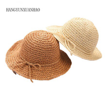 Girls Straw Hat Summer Beach Baby SunHat Round Top Raffia Wide Brim Hats Children Bow Design Women Parent-Child Caps