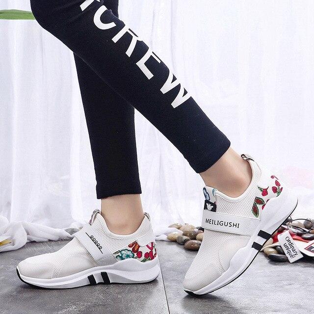 287776e255 Branco Da Flor Da Mola Impresso Sneakers Tenis Feminino Casual Shoes  Calçados Das Senhoras Da Moda