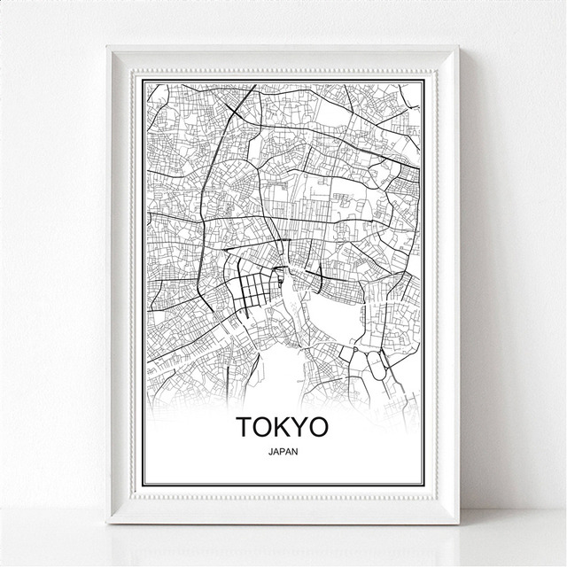 Tokyo japan world city map print poster abstract coated paper bar cafe pub living room home