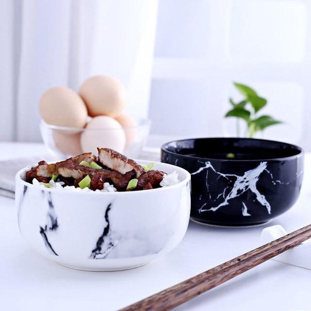 Marble grain rice bowls kitchen dinnerware home decoration creative design ceramic bowl noodle soup bowl ceramic & Marble grain rice bowls kitchen dinnerware home decoration creative ...
