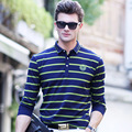 High quality  new brand men polo shirt spring and autumn Long sleeve striped polo homme Slim Fit Casual Business Men Shirts