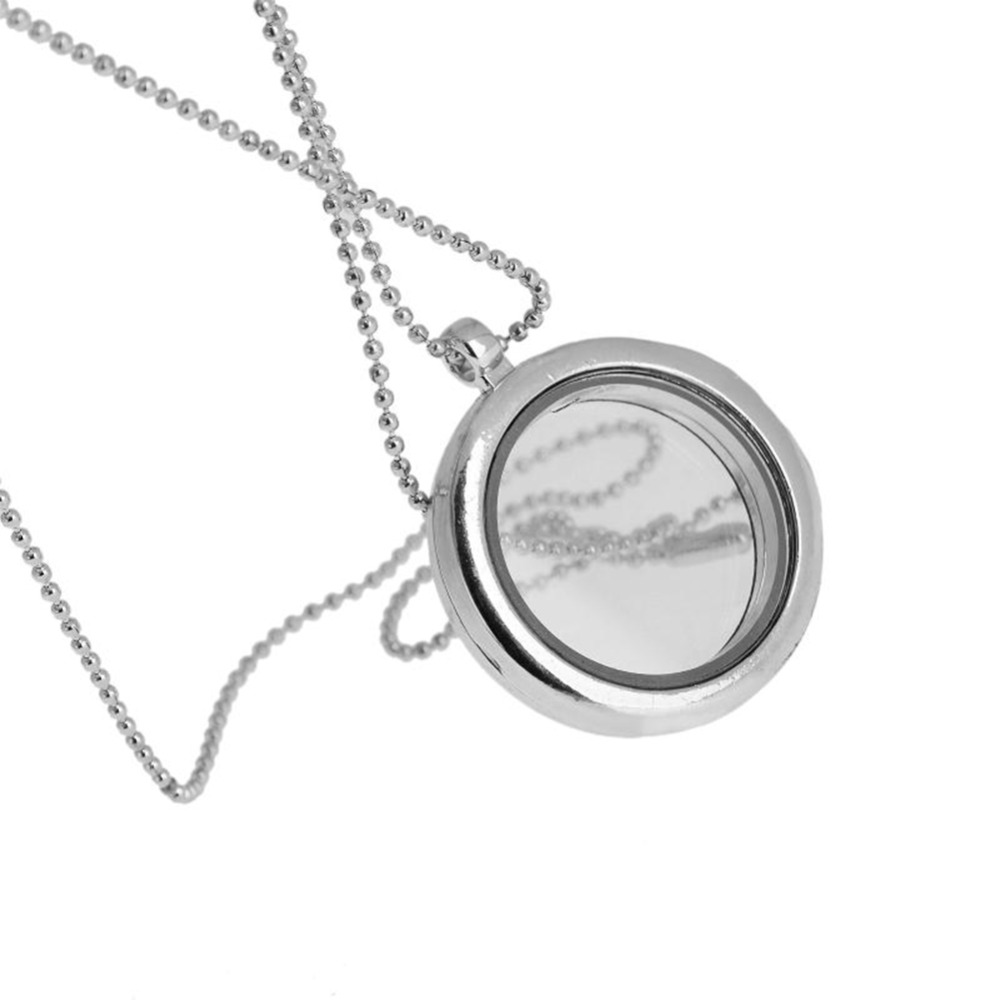 Women/Couple Glass Photo Frame Pendant Charm Necklace Open Round Phase Box Locket Pendant Glossy Necklace 5 Colors