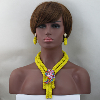 Chunky Yellow Costume African Crystal Beads Jewellery Sets for Traditional Weddings, Parties Women Jewelry Free shipping WD559