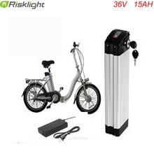 Batterie de vélo électrique li-ion 36 v 15ah ebike batterie argent type de poisson 36 volts batterie au lithium-ion avec chargeur