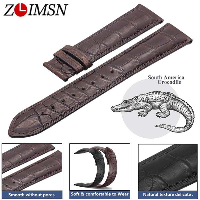 ZLIMSN Double Alligator Leather Strap Black Brown Watch Band Size 18mm 20mm 22mm for Mens Women Luxury Crocodile Watchband hot sale genuine leather watchband watch strap with crocodile pattern different colors in size 18mm 20mm 22mm