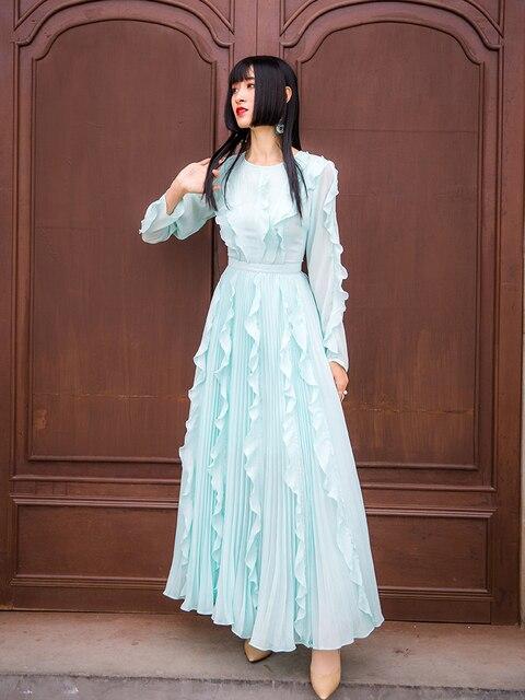 Robe De plage Vestido De Festa Vestido Longo robe Maxi 2019 nouvelle mode à manches longues Rufflerobe Grande Taille Femme été femmes