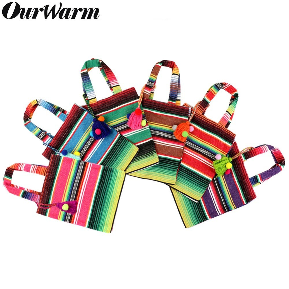 OurWarm 6Pcs Cotton Gift Bag With Handles Colorful Mexican Tote Favor Bags Cookies Candy Packaging Holder Mexican Party Supplies
