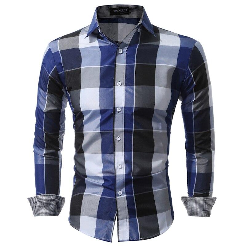 Camicie da uomo Fit Mens Dress Camicie A Quadri Abiti Maschili Sociale Camicia Casuale Degli Uomini di Marca Chemise Homme Large size XXXL USNS