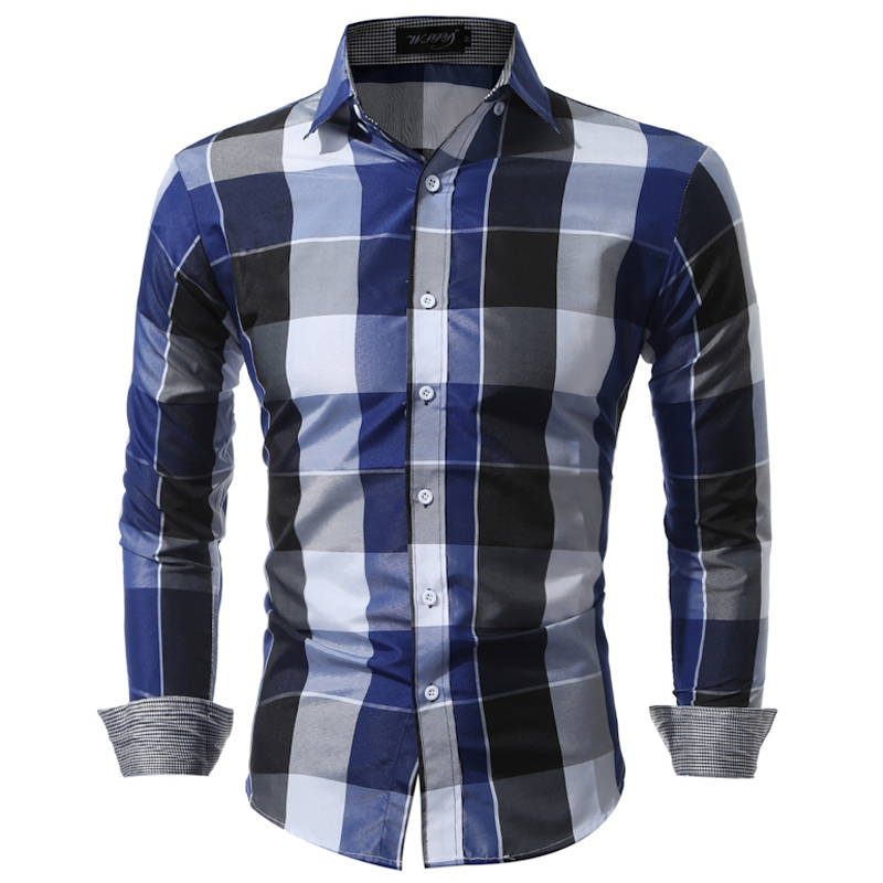 Hombres Camisas fit Hombre Plaid Camisas ropa masculina casual Camisa hombres chemise Homme tamaño grande XXXL USNS