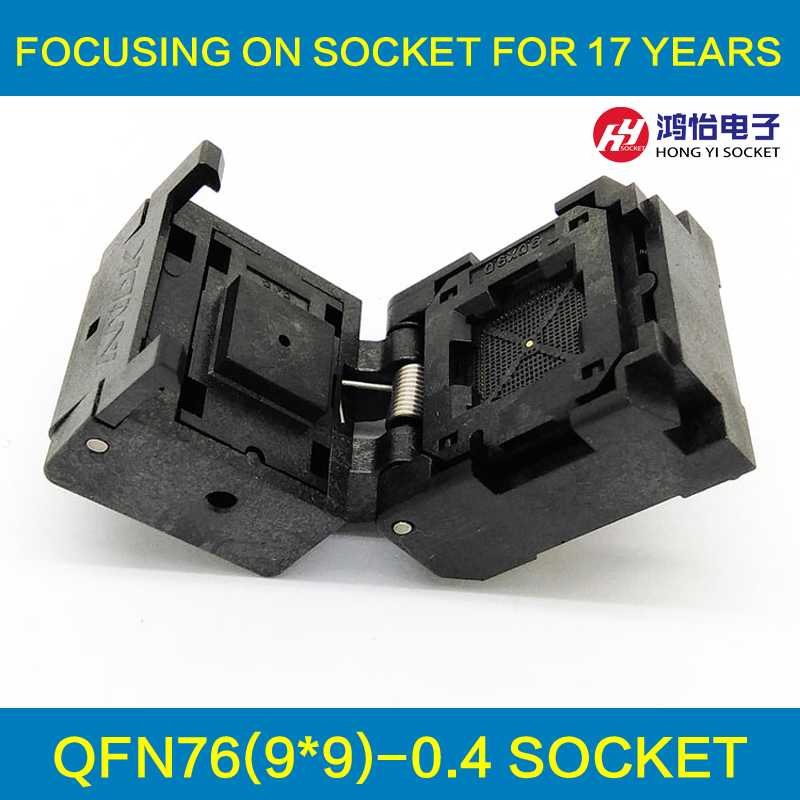 QFN76 MLF76 IC Test Socket Pitch 0.4mm IC549-0764-012-G Burn in Socket Clamshell Chip Size 9*9 Flash Adapter Programming Socket fshh qfn32 to dip32 programmer adapter wson32 udfn32 mlf32 ic test socket size 3 2mmx13 2mm pin pitch 1 27mm