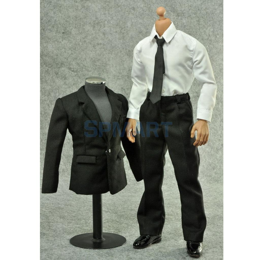 1/6 Scale Black Suit Full Set Clothes Accessories for 12 Inch Hot Toys Sideshow Drgon Male Action Figure