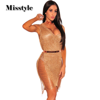 Misstyle Summer Newest Women Rose Gold Knit Shredded Dress Sweater Club Dress Sexy Beach Wear Dress Vestidos 2COLOR