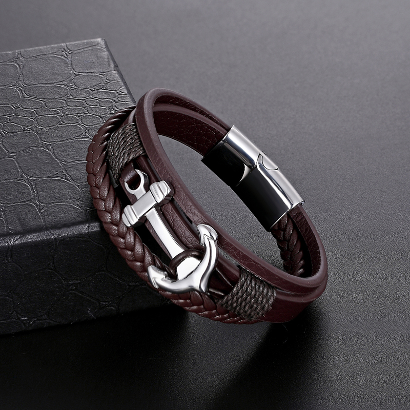 2018 new multi-layered man stainless steel Genuine leather bracelet ship anchor black coffee lady punk bracelet Jewelry Gifts все цены