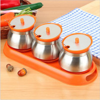 Kitchen Supplies Stainless Steel Condiment Pot&Spice Container Salt Sugar Serving Jars seasoning pot combination with spoons