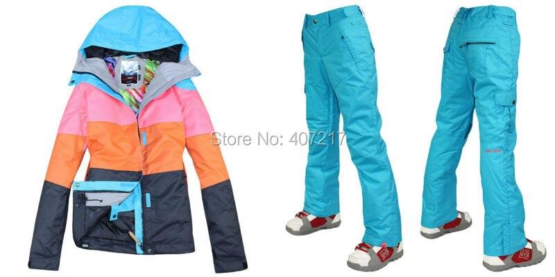 Prix pour 2015 femmes bleu combinaison de ski féminin snowboard costume de neige costume vêtements de ski noir bleu ski veste et ciel bleu ski pantalon étanche