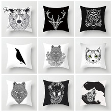 Fuwatacchi Animals Cushion Cover Sketch Painting Tiger Cat Deer Pillow Case For Sofa Car Chair Home Decor Pillowcase 45cm*45cm fuwatacchi home decor cartoon cushion cover cute stick figure couple image pillow cover for car sofa pillowcase 45cm 45cm