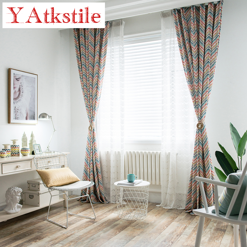YAtkstile Mediterranean style pop stripe print curtain fabric ...
