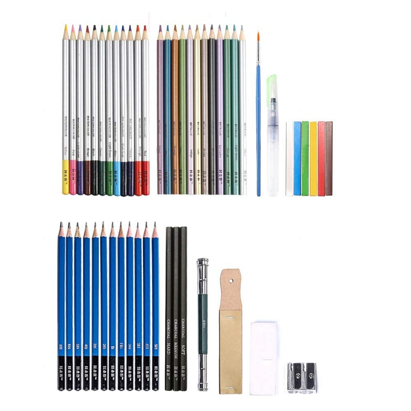 51pcs Professional Drawing Artist Kit Set For Pencils Sketch Charcoal Art Tools