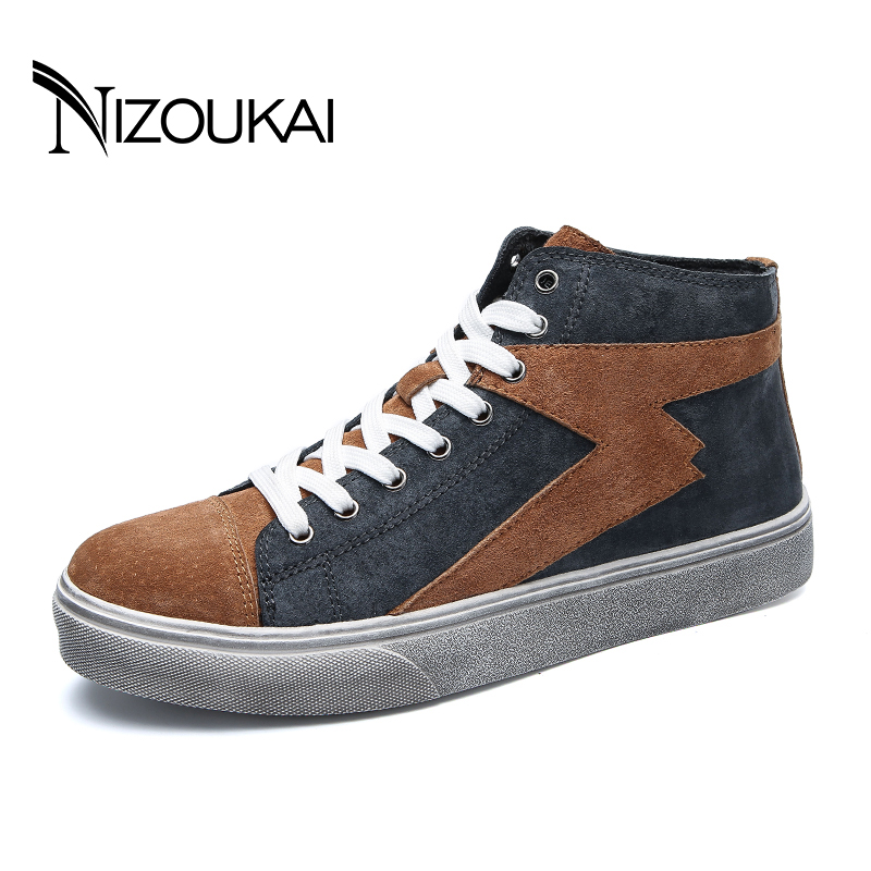 Male Shoes Adult Genuine Leather Men's Casual Shoes Men Fashion Vintage High Top Mens Sneakers zapatos hombre hot sale mens italian style flat shoes genuine leather handmade men casual flats top quality oxford shoes men leather shoes