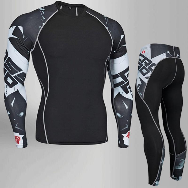 Homens de compressão run jogging terno roupas conjunto esportes longo t  camisa e calças ginásio de treino de fitness Calças roupas de corrida  conjunto em ... 16613445dc1a8